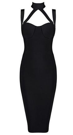 super sexy, elegant, modern design style. length below knee, back split, back zipper, unique halter neck style, sexy bust-line Material- 90% rayon /9% nylon/ 1% spandex Color - Black Size - X-Small, S