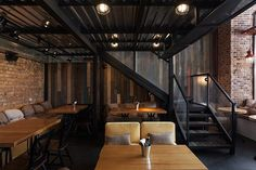 True Burger Bar (Kiev, Ukraine) by anya garienchick, via Behance Bar Interior Design, Interior Design Photography, Cafe Design, Burger Bar, Kiev Ukraine, Restaurant Design, Restaurant Bar, Luxury Cafe, Loft Cafe