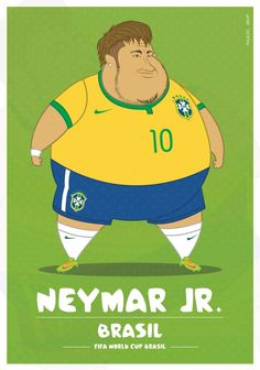 Colombia-based illustrator Fulvio Obregon has created a series of illustrations, in which he imagined World Cup soccer players as. Fat Football Player, Best Football Players, World Football, Soccer Players, Neymar Jr, Cristiano Ronaldo, Messi Vs Ronaldo, Double Menton, Messi Gif