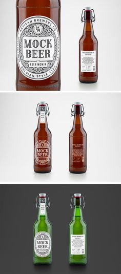 Mockup de botella de cerveza artesanal                                                                                                                                                      Más