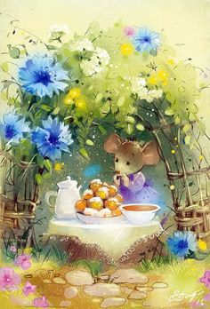 RARE Cornflower tea Mouse tea-party by Babok Russian modern postcard Cute Animal Illustration, Children's Book Illustration, Cute Drawings, Animal Drawings, Cute Mouse, Whimsical Art, Cute Art, Illustrators, Cute Pictures