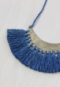 Handmade Brass & Indigo Tassel Necklace | forestiere on Etsy