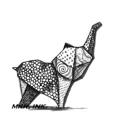 "Origami Elephant: 8.5X11"" digital print of a pen and ink drawing. $12.00, via Etsy."