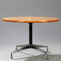 Charles Eames; Cherry, Chromed and Enameled Steel 'Contract Table' by Vitra, 1950s.