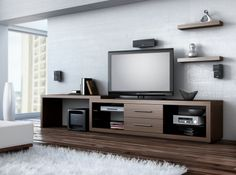 Createch Design / Home Entertainment Unit - The ILLUSION collection offers you a relaxing look that will elevate the comfort of your living space. In this collection, you will discover the different structural variations associated with television modules. You will also find our various living room tables. All you need to do is make a choice!  #tv #tvstand #hometheater #homecinema #modern #contemporary #mediastorage #storage #livingroom #design #wood #furnishing