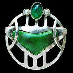 Jugendstil Enamel, Pearl, Emerald, and Silver Brooch by Murrle Bennett & Co., Germany