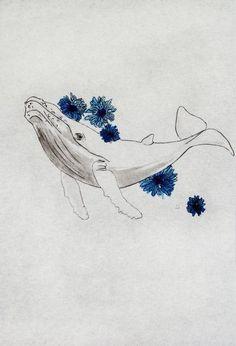 Whale Tattoos, Print Tattoos, Underwater Drawing, Underwater Sea, Ocean Life Tattoos, Whale Sketch, Blue Flower Tattoos, Whale Art, Blue Whale Drawing