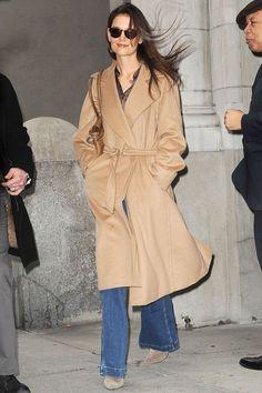 Katie Holmes in 70s style coat