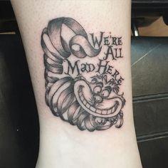 Fun #disney #aliceinwonderland #tattoo #tattoovirgin #firstplacetattoos #girlswithtattoos #ankletattoo #disneytattoos #blackandgreytattoo #cheshirecat #wereallmadhere