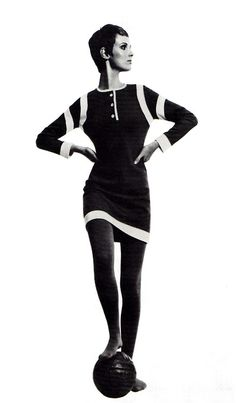 Grace Coddington modelling 'The Footer' mini-dress in bonded wool jersey by Mary Quant's Ginger Group (1967)