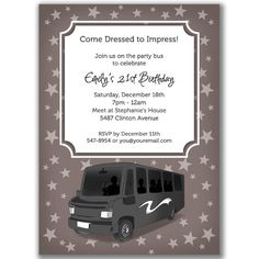 Bachelorette party bus pass invitation pinterest party bus party bus invitations stars for a birthday bridal or by milelj stopboris Images