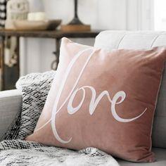 Blush Velvet Love Pillow | Kirklands