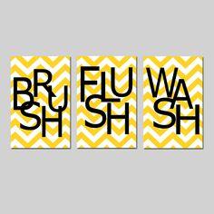Kids Bathroom Wall Art Print Set - Pick THREE 11x17 Chevron Prints - Wash, Brush, Soak, Splish, Splash, Flush - Choose Your Colors. $65.00, via Etsy.