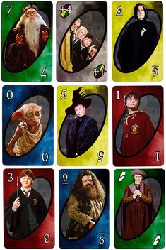 Now you can play UNO in the company of your favorite Harry Potter characters! Same gameplay as Basic UNO but features images of Hermione, Harry, Ron, and other characters from the magical world of Harry Potter Harry Potter Tumblr, Harry Potter Card Game, Carte Harry Potter, Harry Potter Bricolage, Harry Potter Items, Harry Potter Printables, Theme Harry Potter, Harry Potter Characters, Iconic Characters