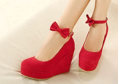 Wedding Women's Wedge Shoes With Bowknot and Buckle Design (RED,37)   Sammydress.com