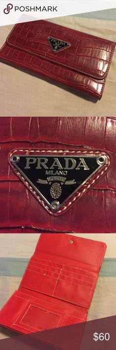 Burgundy Prada Ladies Billfold! ‼️SALE‼️Ladies tri-fold, alligator skin billfold. Deep burgundy color, snap closure, zippered change purse. 3 large interior pockets, and 6 smaller ones, not including the clear DL pocket! Prada Other