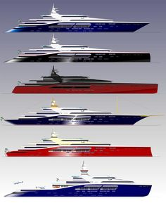 Mike Kajan Yacht Designs, 200m variations