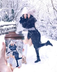 Comment 'Snow' in your language ️ Snow cuddles ️ Tag your BFF Snow Pictures, Bff Pictures, Dark Smokey Eye Makeup, Lisa Or Lena, Coffee Cup Art, Ariana Grande Drawings, Bff Drawings, Cute Twins, Twin Outfits