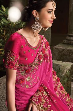 Pink Color Pure Satin And Net Wedding Or Engagement Sari (S0478)   Palkhi