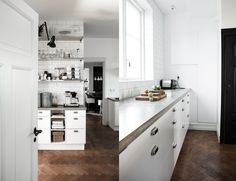 This kitchen has two versions online, the other is black. Both gorgeous. The thick concrete benches are awesome and the details are simple and nice