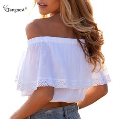 $17.64 - Awesome TANGNEST 2017 Summer Slash Neck Off Shoulder Crop Tops S-XL Cotton Ruffles Lace Patchwork Short Shirts Cropped Tanks Top  WTN077 - Buy it Now!