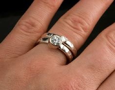 Sterling Silver Wedding Ring Set with White by JenLawlerDesigns, $190.00
