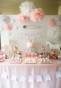Pink Rocking Horse girl baby shower dessert table