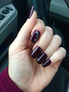 Dark plum acrylic nails with gel polish. I'm loving this look. Longest I've ever had my nails :)