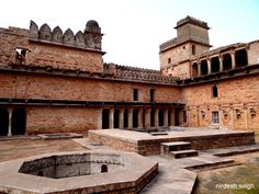 Kirti Durg or Chanderi Fort - Navkhand Palace Courtyard with Fountain & Tank