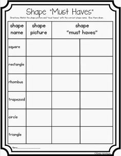 Defining Attributes of Shapes--freebie.  Could be an assessment or just a sort.