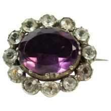 Antique Georgian Amethyst Paste Lace Pin Brooch Circa 1820