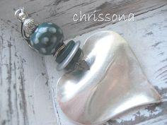 Anhänger  Herz  Keramikperle petrol von chrissona auf DaWanda.com