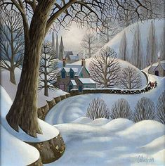 George Callaghan - artwork prices, pictures and values. Art market estimated value about George Callaghan works of art. Illustration Noel, Winter Illustration, Landscape Art, Winter Drawings, Irish Art, Winter Art, Naive Art, Canvas Artwork, Snow