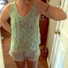 Sheer lace tank top. Teal. Longer back Lily White Tops Tank Tops