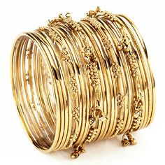 "Gold Mumbai Bangle Set 24 bangles for 2.5"" wide set. 18k gold plated brass Amrita Singh Jewelry Bracelets"