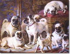 Love this! It's a painting by Gourlay Steell, called The Drumplier Pugs, circa 1867. It is a tempera on board of Queen Victoria's pugs.