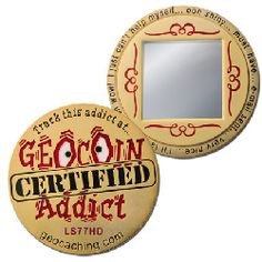 Gold Certified Addict Geocoin for Geocaching. Add to the collection. :)