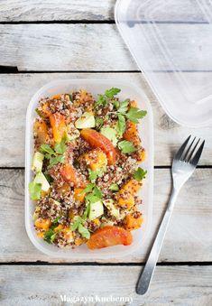 Sałatka do pracy przepis. Przepis na sałatkę z komosą ryżową. Sałatka z quinoa, słodkimi ziemniakami, awokado i czerwonymi pomarańczami. Obiad do pracy. Recovery Food, Cobb Salad, Quinoa, Rum, Meals, Sweet, Candy, Meal, Rome