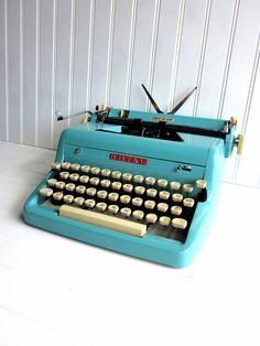 Baby blue manual typewriter