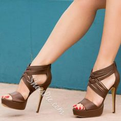 Cheap stilettos can make ladies sexy and charming. Ericdress sells stiletto heels and you have every reason to shop for cheap stiletto sandals from this website. Hot Heels, Sexy High Heels, Pump Shoes, Shoe Boots, Ankle Boots, Brown Heels, Brown Sandals, Fashion Heels, Stiletto Heels