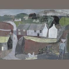 John Minton: 'Cornish Mining Village', 1945 (gouache and ink) Landscape Art, Landscape Paintings, Landscapes, John Minton, Pop Art, Industrial Paintings, Vintage Artwork, Billie Piper, Watercolor Art