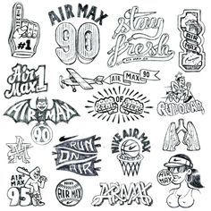 Sketches from the Nike Icons Tattoo Design Drawings, Tattoo Sketches, Tattoo Designs Men, Basketball Drawings, Basketball Tattoos, Body Art Tattoos, Sleeve Tattoos, Prison Drawings, Nike Tattoo