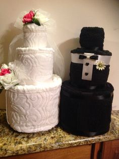 Wedding towel cake great centerpiece for any bridal shower or wedding events