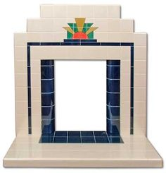 Sunrise Art Deco tiled fireplace