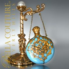 RARE Gorgeous Fine Antique French Blue Opaline Glass Perfume Flask Scent Chatelaine Bottle Circa 1880