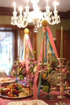 May Day tablescape - love the fruit platter!