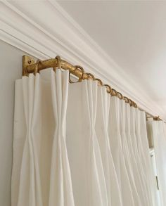 McHenry Renovation Christopher Wynne: Gold leaf and pinch pleats are what the best window treatments Gold Curtain Rods, Drapery Rods, Window Treatments Living Room, Custom Window Treatments, Curtains Living, Drapes Curtains, Kids Room Curtains, Burlap Curtains, French Curtains
