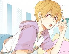 kyoto animation hazuki nagisa shijima tohiro single blush short hair looking at viewer open mouth blonde hair fringe pink eyes hair between eyes fingernails ? male bed pillow hood t-shirt Blonde Hair Fringe, Nagisa Free, Rei Ryugazaki, Otaku, Swimming Anime, Free Eternal Summer, Free Iwatobi Swim Club, Makoharu, Kyoto Animation