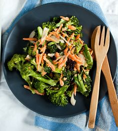 What to do with that whole head of raw broccoli?  Broccoli Salad with Carrots and Currants
