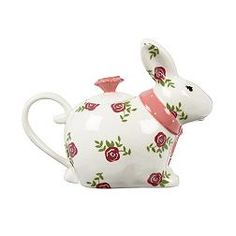 Floral Rabbit Teapot from At Home with Ashley Thomas line for Debenham's ... white rabbit shape decorated with pink roses and green leaves, with pink ribbon and knob, c. 2010s, ceramic